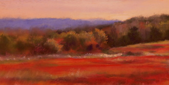 AnneMacleod HR %22Blueberry Barrens%22 400.00  pastel on paper 5.5x11.5 nicely framed