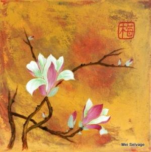 Magnolia Spring.12 x 12 acrylic on canvas JPG